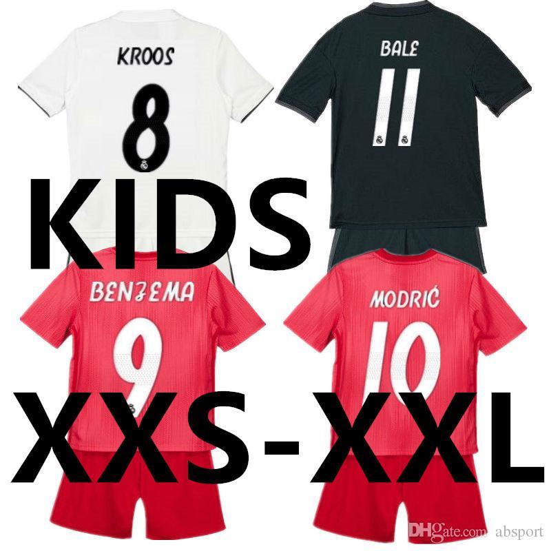 18 19 Soccer Jersey Real Madrid Kids Set 2019 Camisetas Ninos 2018 Child  Football Kit Boys Away Home White Pink Camisas Shirt Short Uniform UK 2019  From ... c1b5428d4735b