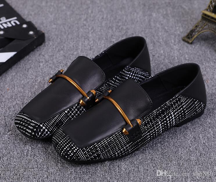 4de9a69e9a4 Women Genuine Leather Mules Shoes Metal Buckle Square Toes British ...