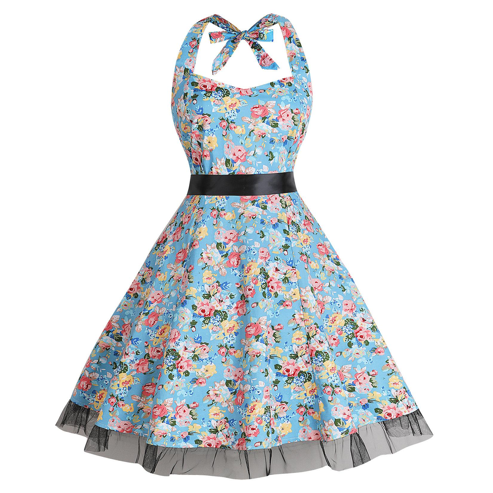 newest 71437 3acec Abito vintage a pieghe Vintage anni 50 anni 60 Abito estivo femminile a  maniche lunghe Plus Size A-line Floreale 28 Colori Scelte F2964 Vestito  casual ...
