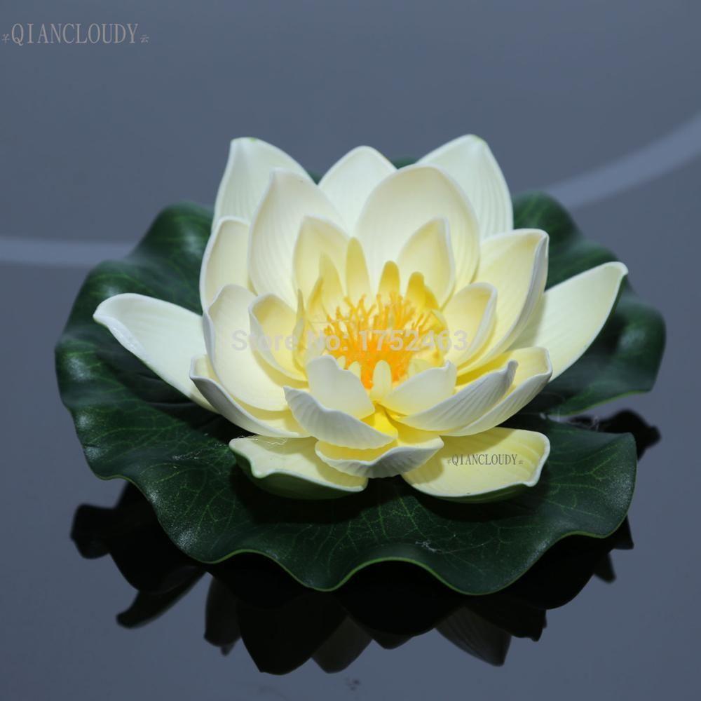 2018 Floating Wedding Beige Artificial Fake Pond Flowers Lotus Leaf