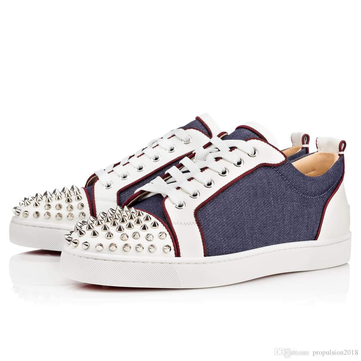 6af133ab303 Original Box Men Shoes Red Bottom Sneaker Shoes Low Top Luxury Party  Wedding Shoes