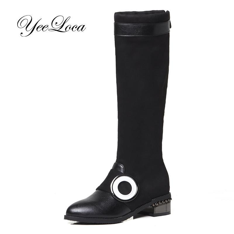 09be44c9e871 Acheter Mode Dames Genou Haute Bottes D hiver En Cuir Doux Bottes Femme Noir  Zip Chaud Fourrure Femmes Cuisse Haute Chaussures Plat Suède Suède 2018 De  ...