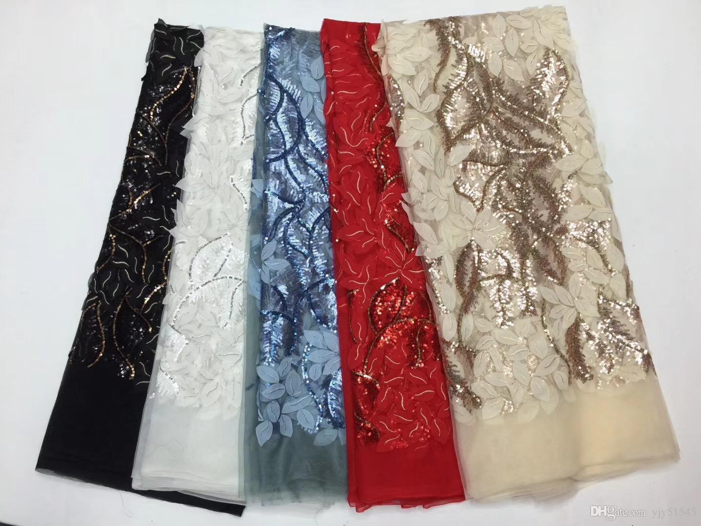 EPY1071 Hot Sale African Sequins Lace Fabric High Quality Cord Lace trim African French Net Lace Fabric For Blue Party Dress
