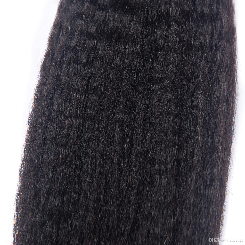 Brésilienne Vierge Cheveux 3 Bundles Malaisienne Péruvienne Indien Cheveux Humains crépus Droite 3 Pièces / Cheveux Tisse Double Trames