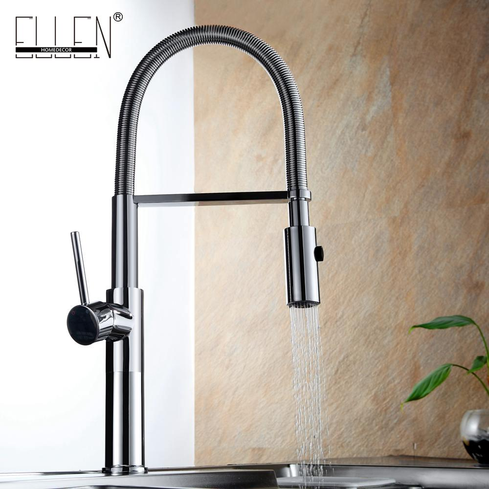 2018 Kitchen Faucet Pull Out Solid Brass Kitchen Basin Sink Mixer ...
