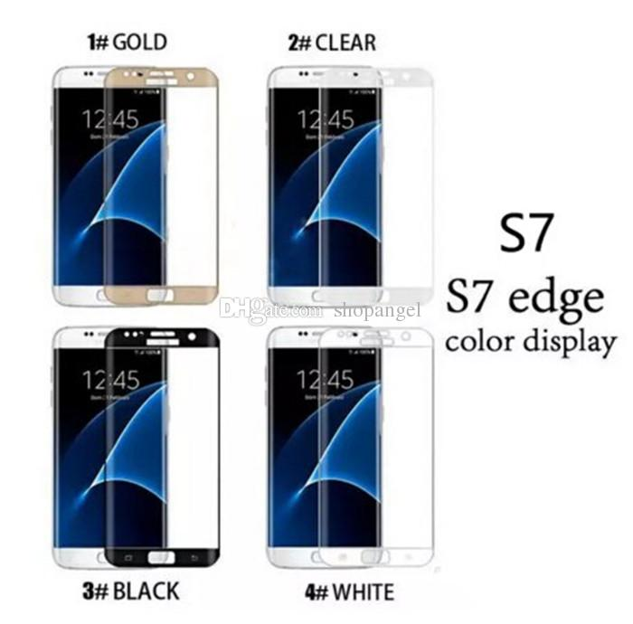 Hot Samsung galaxy S6 edge plus S7 Edge S8 S8 plus Note8 9H 3d Curved Side Full Cover Tempered Glass Screen Protector with Retail package