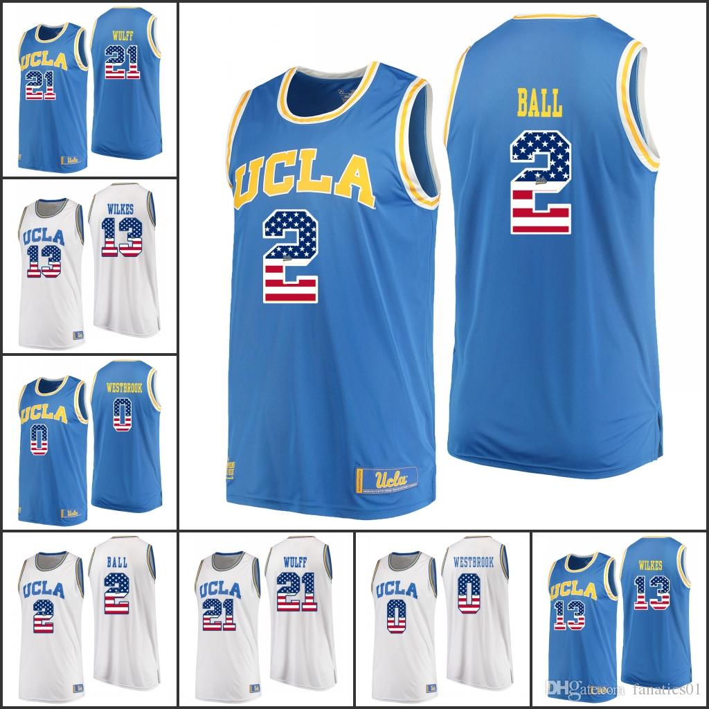 bf089cb20320 National Flag NCAA MENS UCLA Bruins College Basketball Westbrook Ball  Miller Abdul-Jabbar Love Olesinski Riley Holiday Hands Smith Looney Online  with ...