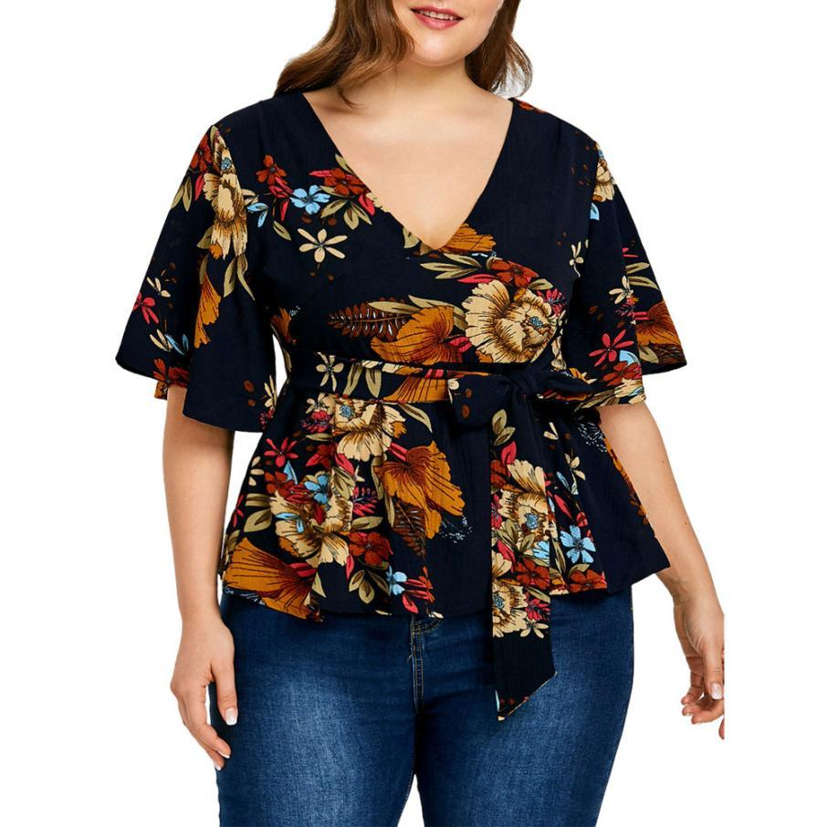 8523adf69e0 2019 Women Blouses Plus Size V Neck Floral Chiffon Blouse Casual Belt  Casual Summer Top Blusas Mujer De Moda 2018  442 From Sincha