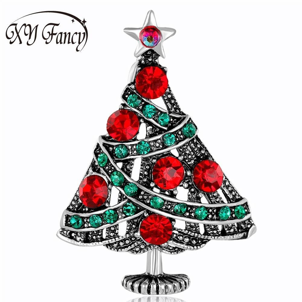 2018 Sangdo Women Teen Refined Christmas Tree Brooches Dazzling ...