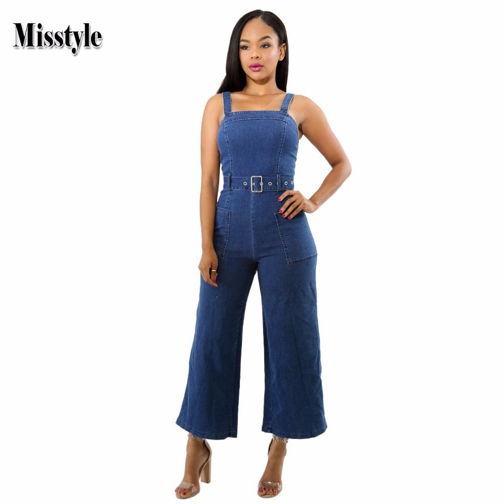 ee74174a3e8 2019 Misstyle Spaghetti Strap Denim Jumpsuit Casual Women Strapless Zippers  Jumpsuit With Belt Solid Wide Pants Pockets Slim Romper From Karel