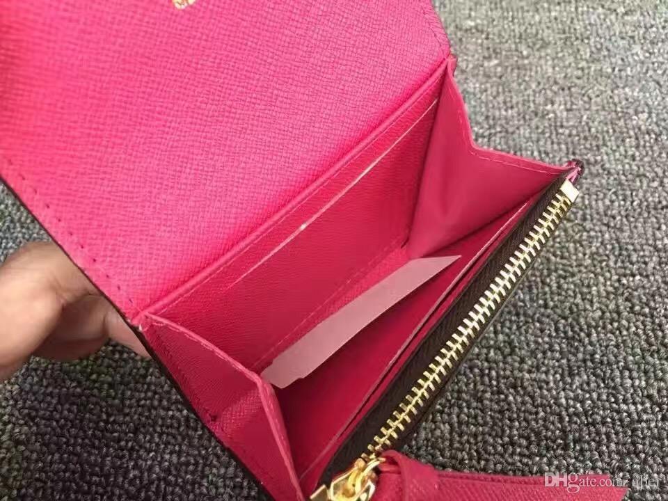 Nuevo Rosalie Monedero Monedero Mujeres de calidad superior Real Damier Azur Canvas Rose Ballerine titular de la tarjeta billetera diseñador M62361