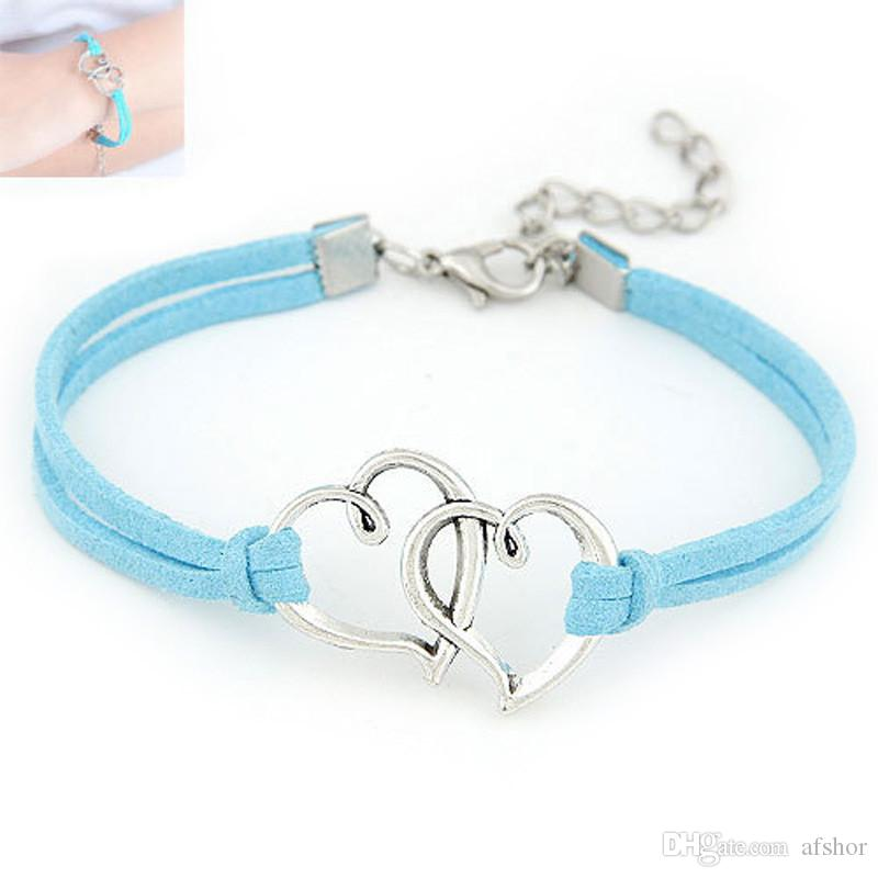 AFSHOR 2018 Europe Hand Made Love Heart Bangles For Women Alloy Rope Weave Leather Suede Wristband Charm Bracelet Adjustable