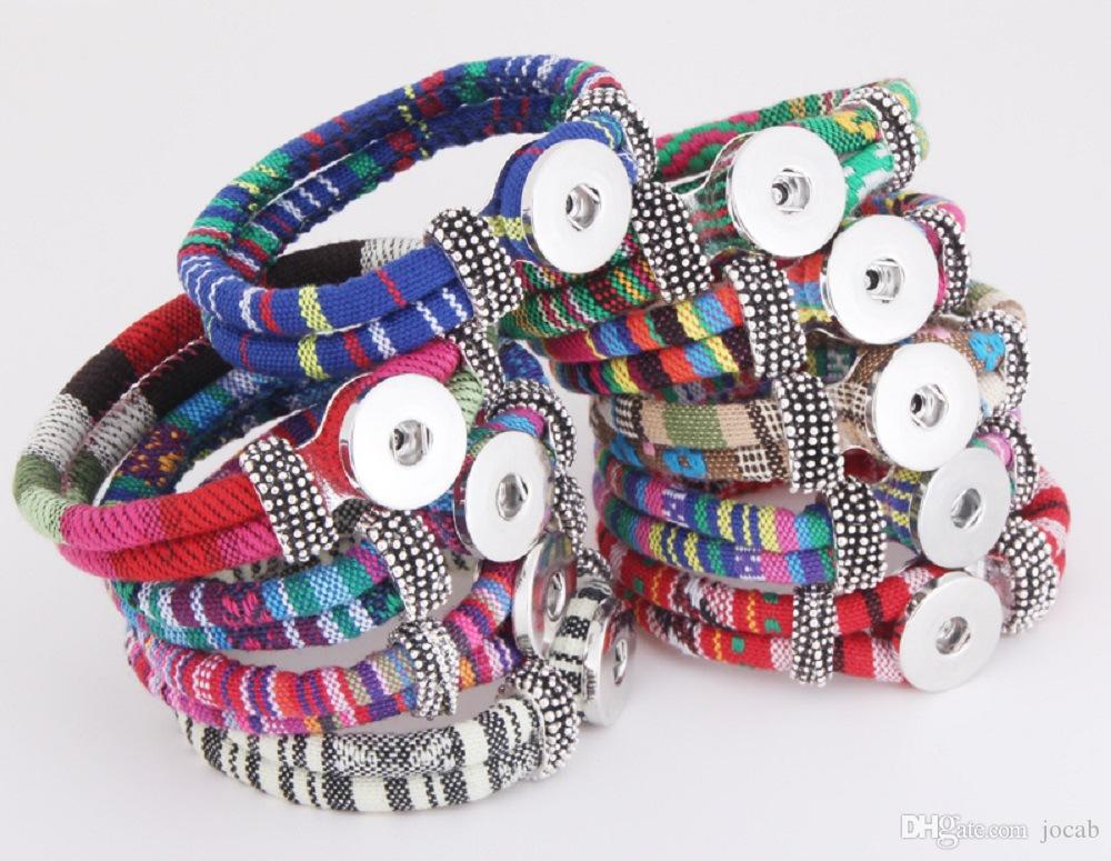 Wholesale Retro Snap Button Bracelet Bangle Snap Leather Bracelet DIY Handmade Braided Woven Rope Bracelet fit 18MM Snap Buttons Jewelry