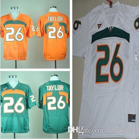 8beee79c5 2018 2017 men miami hurricanes 26 sean taylor green white orange mens college  jerseys size s