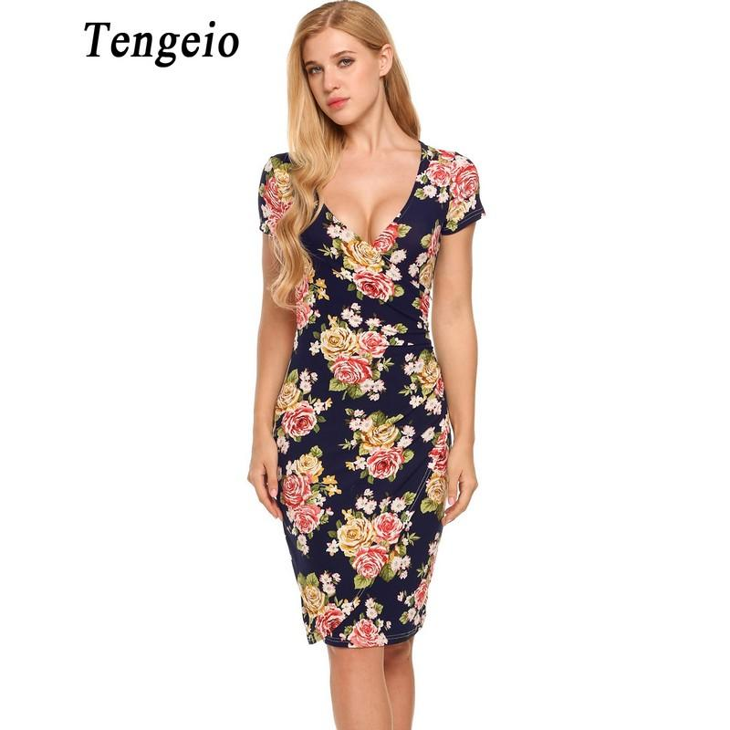 48eed062dd0f9 Tengeio Women Sexy Summer Vintage Bandage Dress V-Neck Short Sleeve Floral  Print Elastic Package Hip Flower Wrap Dress 50