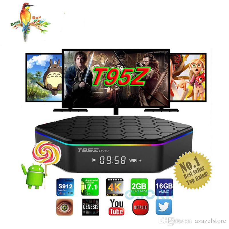 T95Z Plus Android 7.1 TV Box Amlogic S912 Octa-Core 3G 32G Marshmallow Dual Wifi HDMI 4K Media Player Smart Tv Box BETTER MXQ PRO