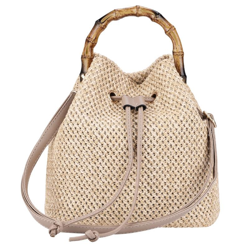 Beach Summer Bag Retro Women Bucket Handbags Drawstring Casual Holiday Woven Straw Shoulder Bags Women Handbags Laides Bag Clients First Shoulder Bags