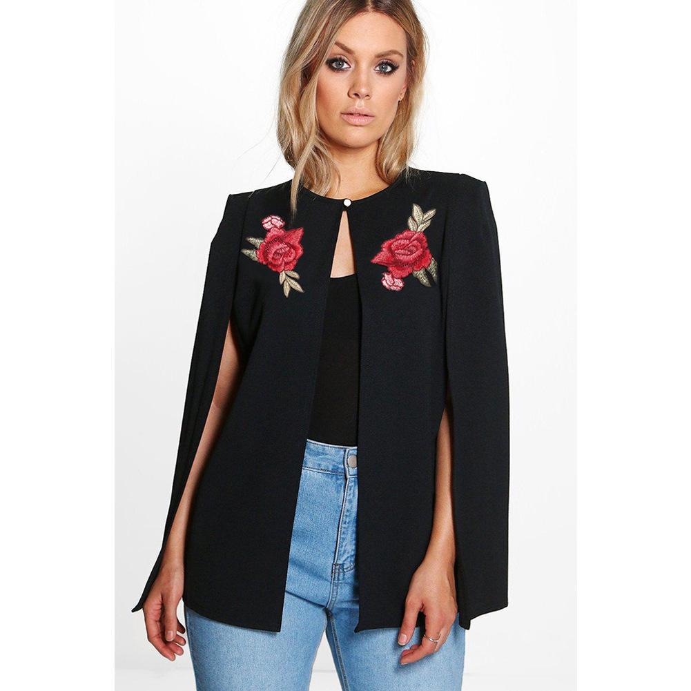 Женщины плащ куртки Роза Вышивка Женский элегантный платок Дизайн Spring New пальто Lady Одежда