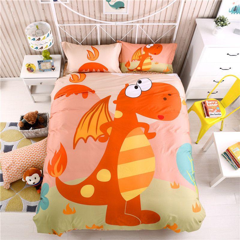 amazing Dinosaur Sheet Set Queen Part - 16: Cotton Cartoon Dinosaur Bedding Set For Kids Boys Children Full Queen Size  Fit Sheet Bed Sheet Set Duvet-Quilt Cover Pillowcase Comforter Sets Queen  Teen ...