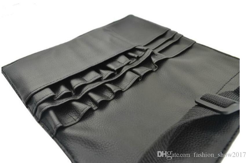 멋진 블랙 두 배열 메이크업 브러시 홀더 스탠드 24 포켓 스트랩 벨트 허리 가방 살롱 메이크업 아티스트 코스메틱 브러시 주최자