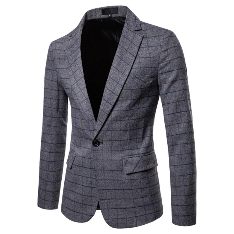Compre Blazer Hombre 2018 Otoño E Invierno Nuevo Traje De Hombre Blazer Moda  Slim Gris Azul Social Business Casual Vestido A Cuadros A  65.96 Del  Xiayuhe ... f8ef1abb616