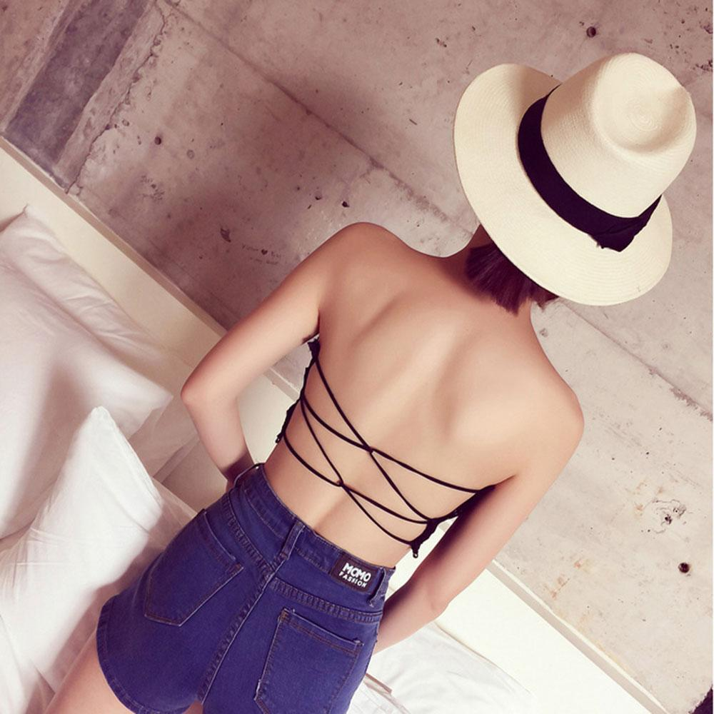 635a57e6ad 2018 Sexy Women Lace Strapless Tube Top Cross Bra Padded Crop Tops Black  White Seamless Bandeau Short Tanks Free Size For Girls From Fitzgerald10