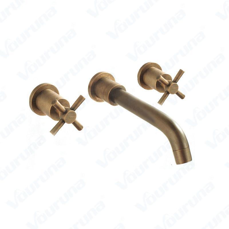 2018 Vouruna Antique Brass Bathroom Faucet Cross Handles Vintage In ...