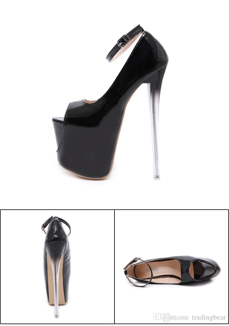 18cm Glossy crystal heel black patent PU leather platform ultra high heels peep toe pumps women designer shoes size 35 to 40