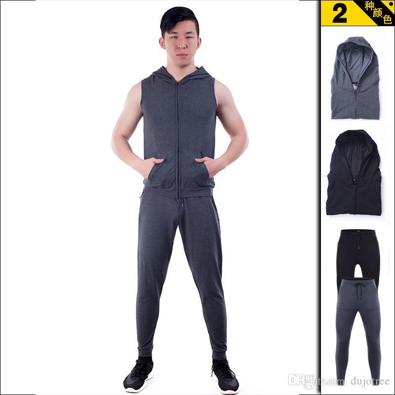 68752658cb0f 2019 Summer Men Sport Suit Sleeveless Hoodie Sweatshirt Set Running  Tracksuit For Men Brand Tshirt Long Pants Tracksuits From Dujotree