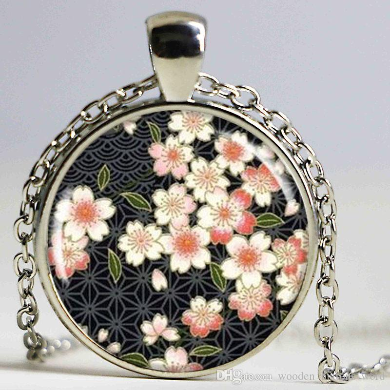 Wholesale japanese flower necklace art pendant flower blossoms art wholesale japanese flower necklace art pendant flower blossoms art yuzen style charm round silver resin charm japanese art pendant for necklace horse aloadofball Image collections