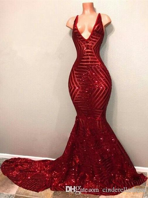 bb396355cc 2019 Sexy Red Blingbling Sequins Prom Dresses Sleeveless Mermaid Plunging V  Neck Black Girls Evening Party Gowns BA7779 Prom Dresses Short 2015 Shop  Prom ...