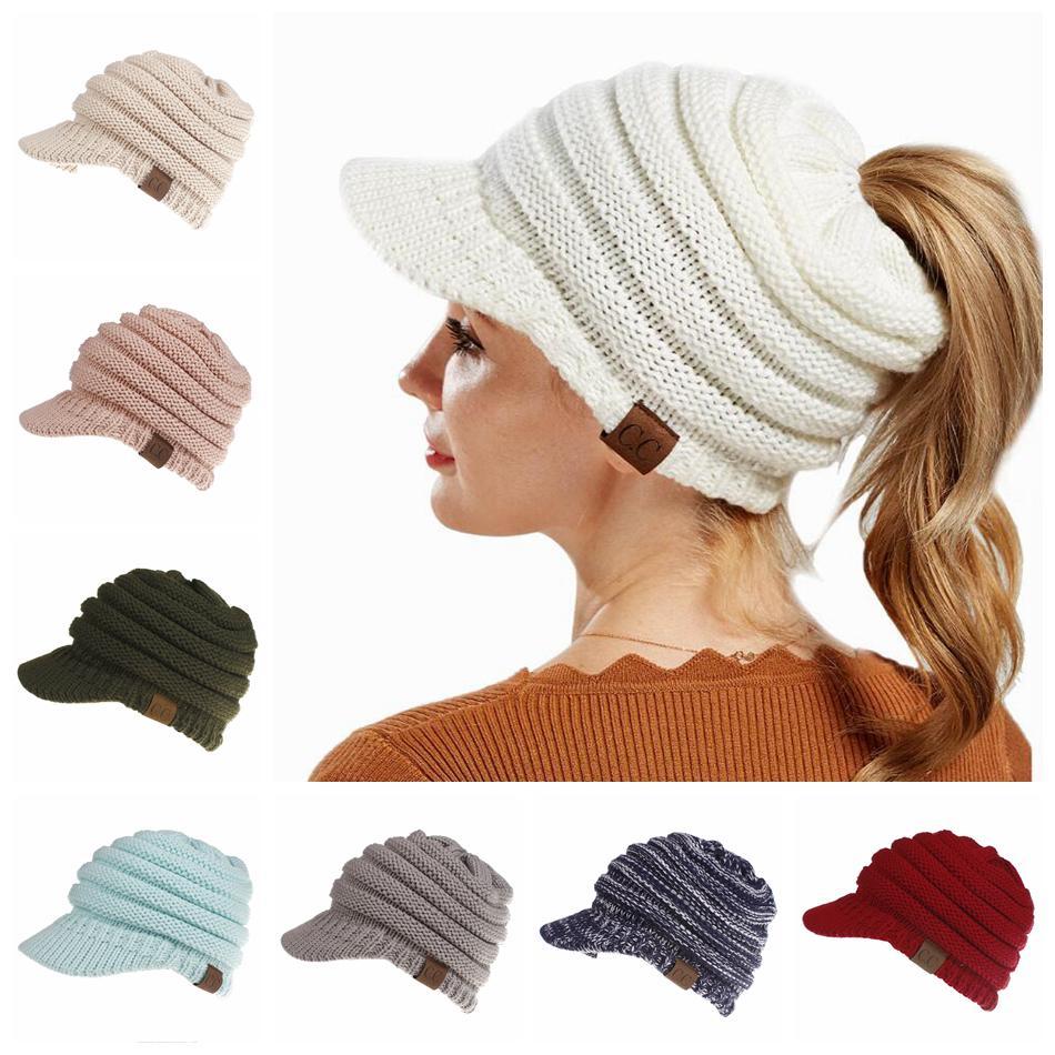 Großhandel Cc Pferdeschwanz Hüte 12 Farben Gestrickte Baseball Mütze