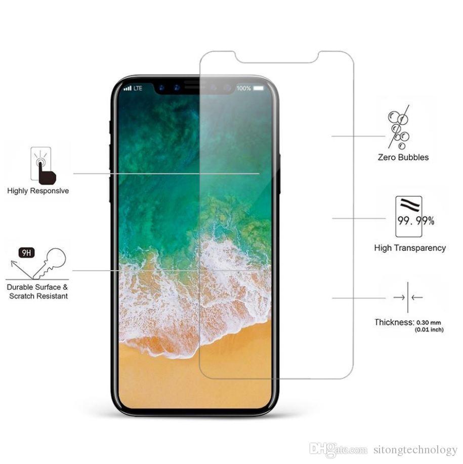 Para iPhone XS Max Protector de pantalla de vidrio templado para Iphone XR X 8 7 6Samsung Edition Film 0.33mm 2.5D 9H Paquete de papel anti-rotura