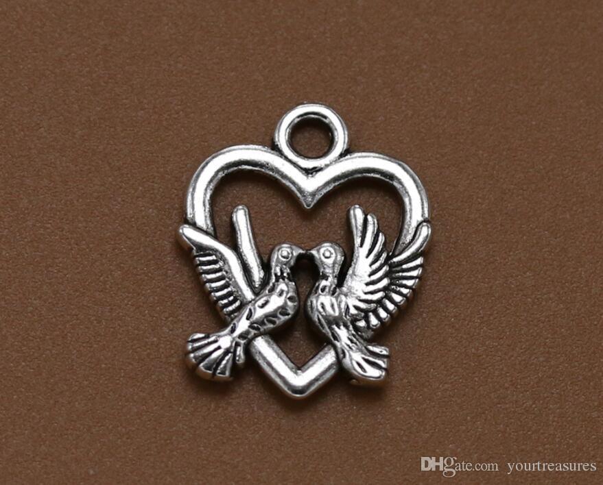 100 Adet 18.5 * 15mm Antik gümüş Güvercin Hollow Barış Dove Charm Kolye Takı DIY Müttefik Güvercin Bilezikler