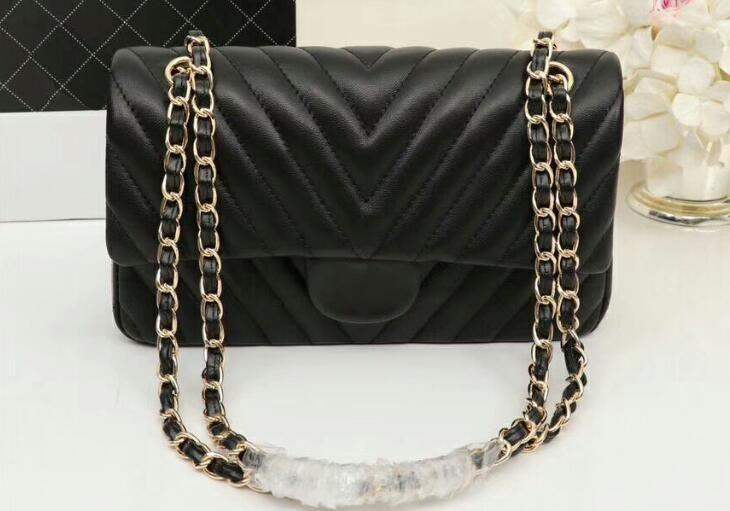4733f6131def AAA A01112 25cm Classic Handbag Lambskin Leather Gold Silver Tone Metal  Chain Strap