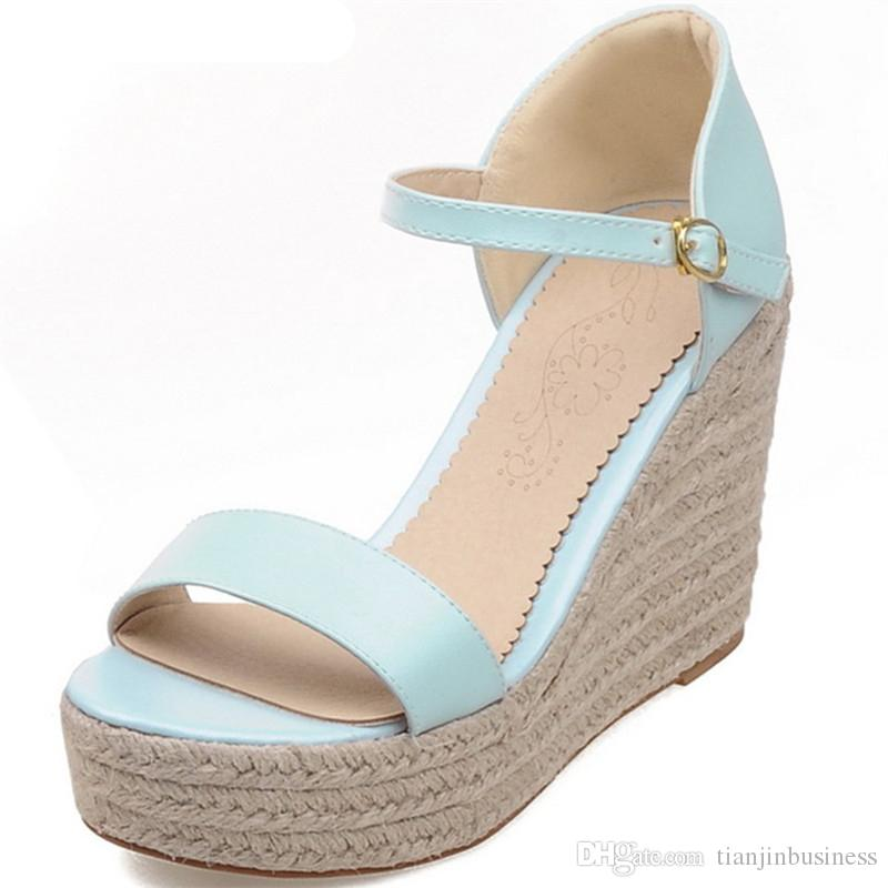 ae84ff7c7 2018 Hot Sale Women Sandals Sweet Pink Summer Shoes Simple Buckle Casual  Shoes Big Size 33 43 Comfortable Wedges Shoes Red Shoes Wedge Sandals From  ...