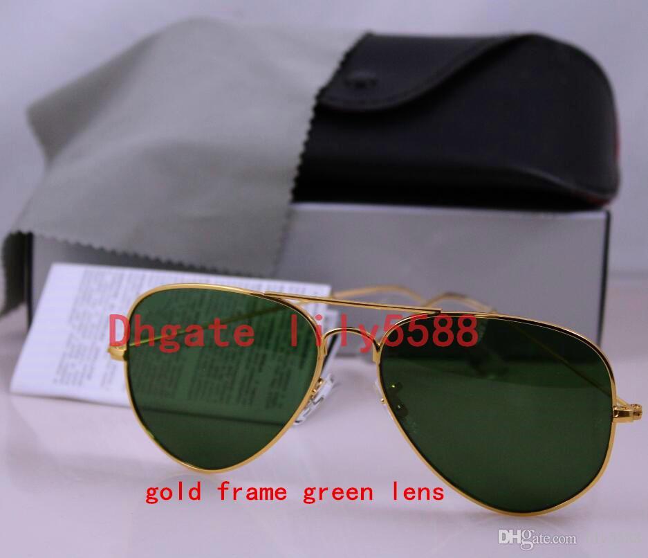 High quality Classic Pilot Sunglasses Designer Large Metal Sun Glasses For Men Women Silver Mirror 58mm 62mm Glass Lenses UV Protection