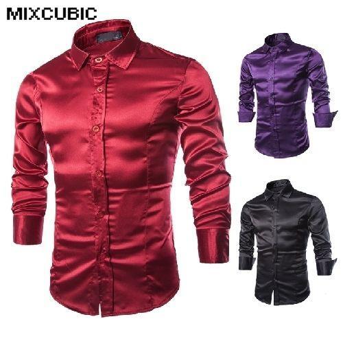 3f8a86b3a8a2b Compre MIXCUBIC Otoño Único Simulación De Seda Brillante Camisas De Manga  Larga Hombres Casuales Slim Fit Vino Camisas Rojas Para Hombres