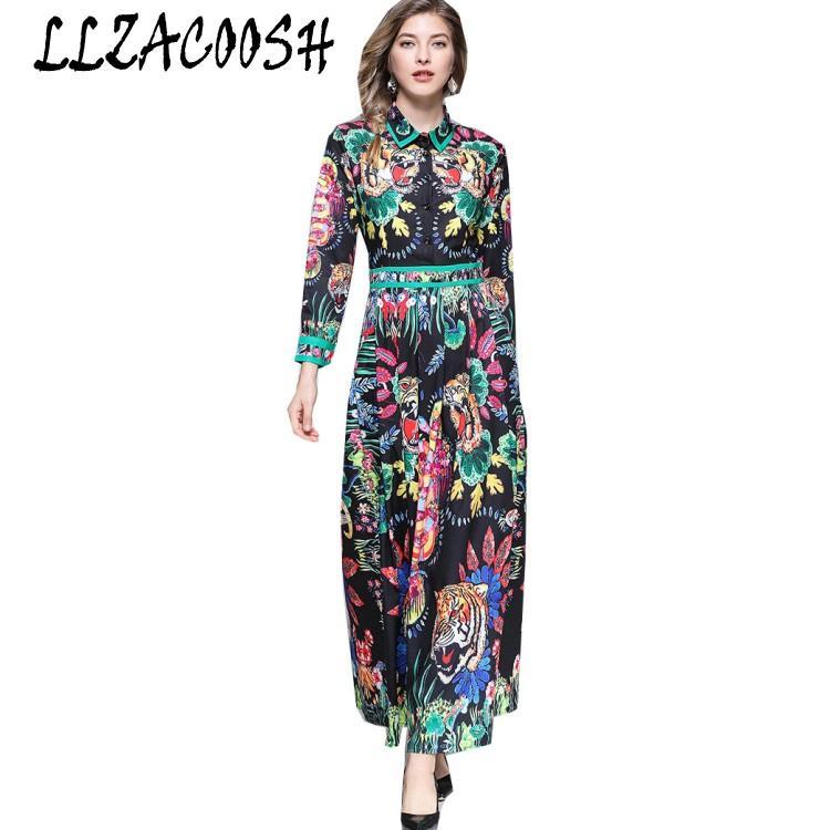 00dfc55a747c Hohe Qualität 2018 Fashion Runway Designer Kleid Frauen Langarm-Blume  gedruckt beiläufige dünne Ferien lange Kleider