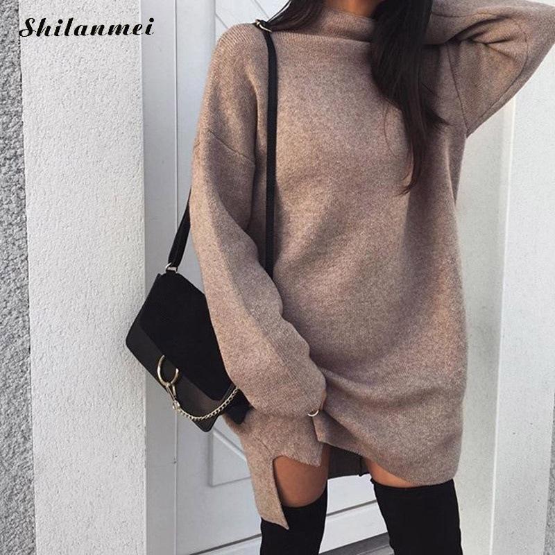 aae928ff91 Compre Mulheres Solto Casual Vestido Feminino 2018 Outono Inverno Manga  Longa Preto Cáqui De Malha Camisola Vestido Elegante Trabalho De Escritório  Vestidos ...
