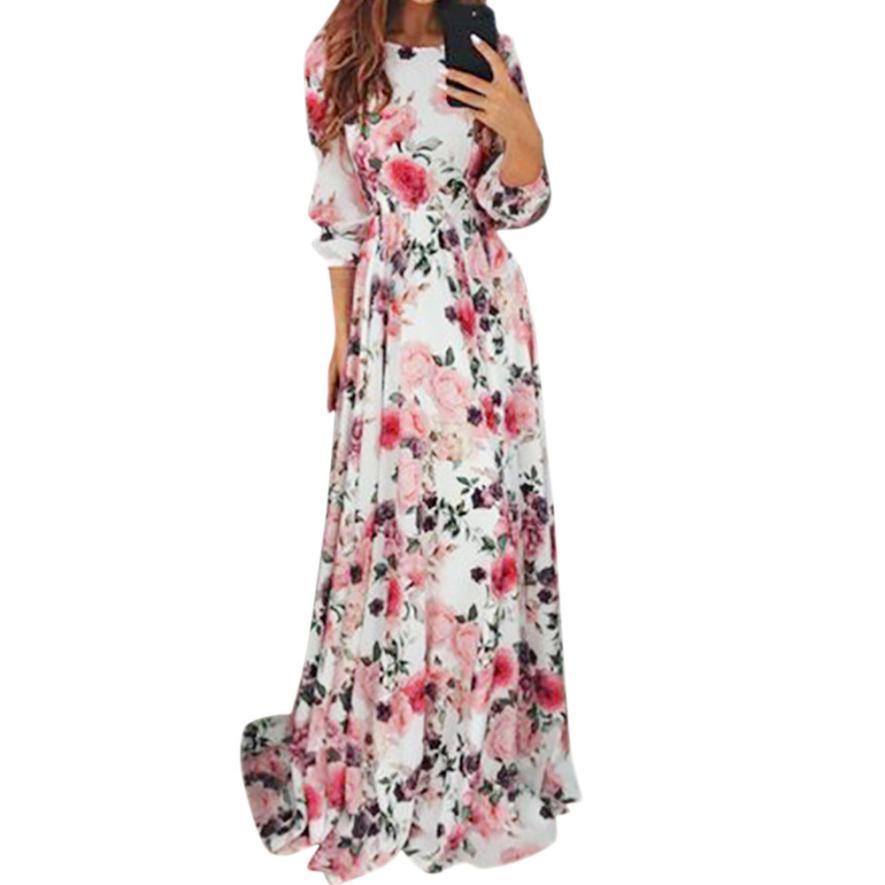 Acquista Vestito Da Primavera 2018 Bohemian Style Elegante Da Donna Con  Stampa Floreale O Collo Da Sera Da Ballo Prom Swing Lungo Pavimento Abiti  Lunghi A ... e8917a8afa6