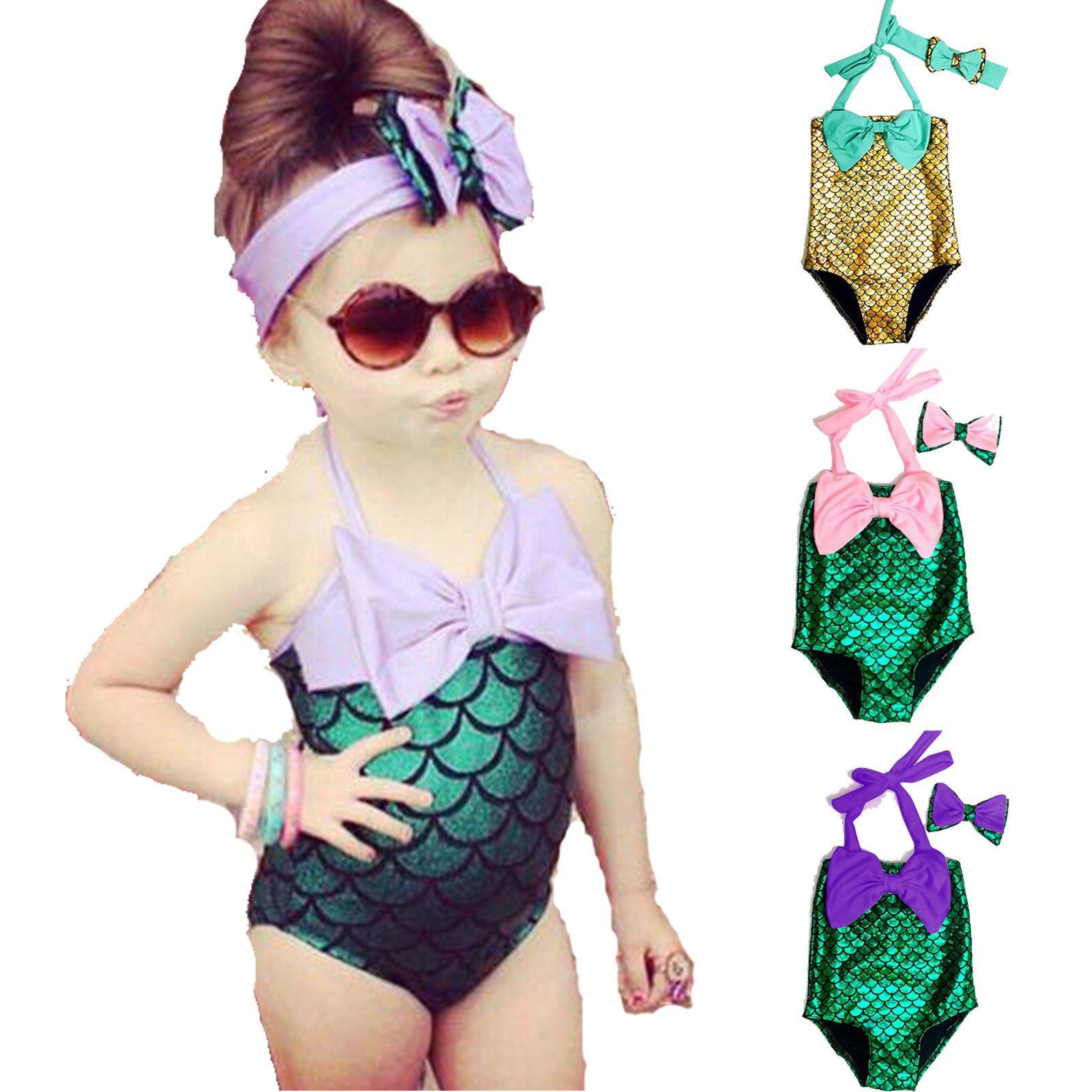 9061b01773f 2019 Baby Girls Mermaid Bikini Suit Swimming Princess Costume Swimsuit Kids  Toddler Girls Swimming Suits 3styles FFA071 From Kids dress