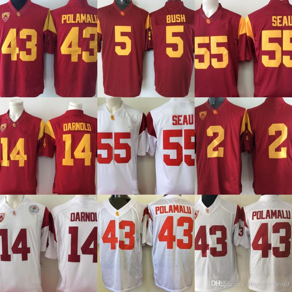566972c06 2019 Mens USC Trojans College Jersey 14 Sam Darnold 43 Troy Polamalu 32 OJ  Simpson 55 Junior Seau Red White College Stitched Jerseys From  Projerseysword