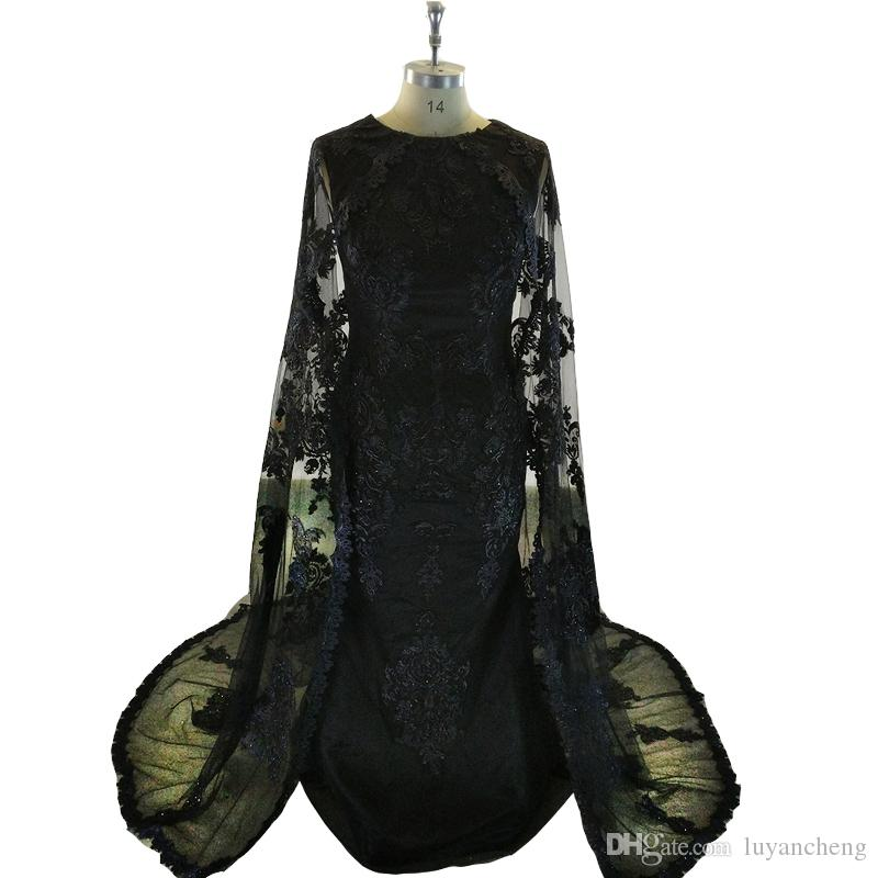Dubai Black Sheath Evening Dresses Cape Satin Abaya Kaftan Formal Party Gowns Real Appliques Lace Evening Prom Dress Elegant Long Caftan