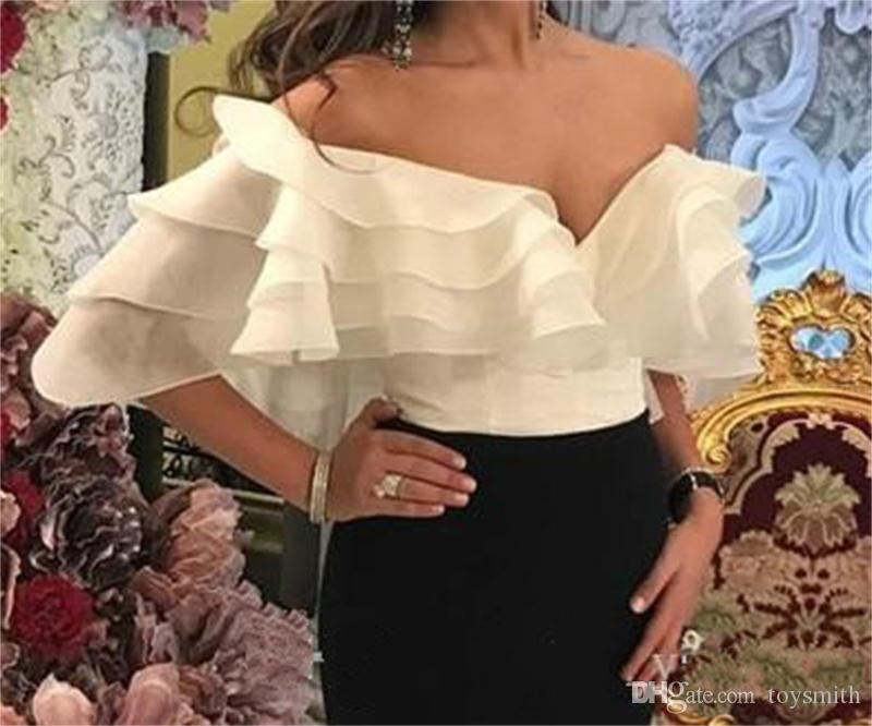 2018 Sexy V-Neck Sheer White And Black Sheath Party Prom Dress Elegant Mermaid Evening Dress