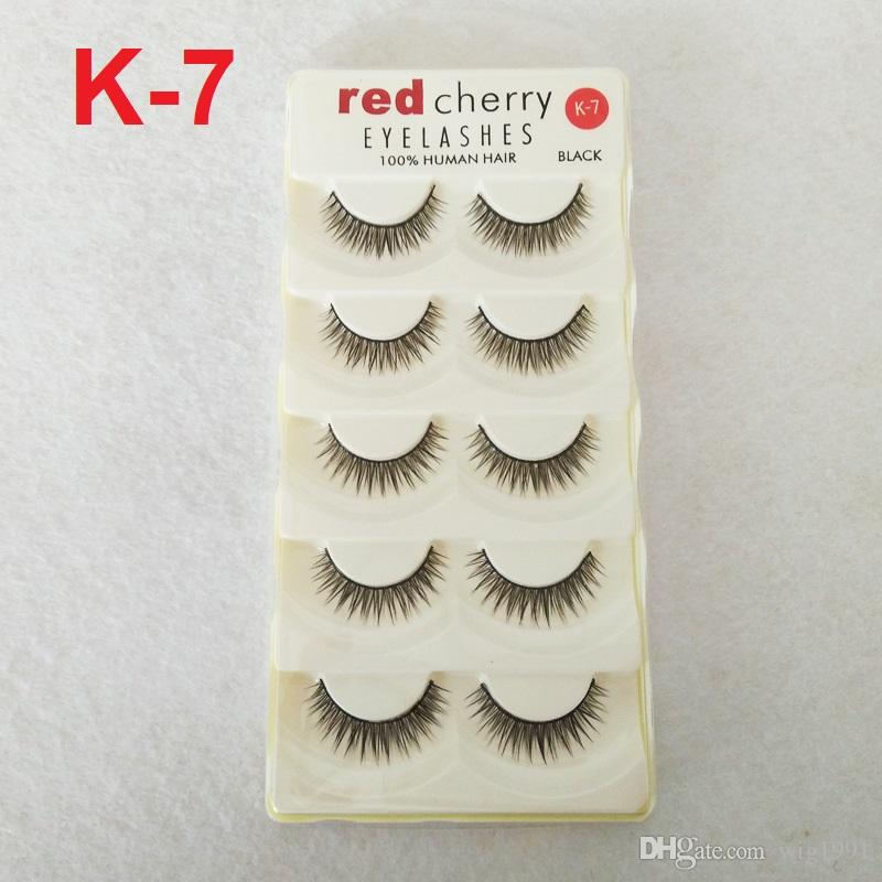 Cereza roja 5 pares 18 estilos pestañas postizas K1 pestañas naturales entrecruzadas desordenadas pestañas falsas maquillaje de belleza