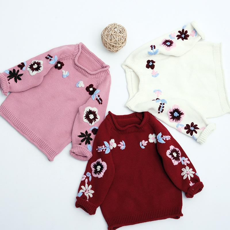 2018 Hand Embroidered Flower Knitted Sweater Round Neck Baby Boy