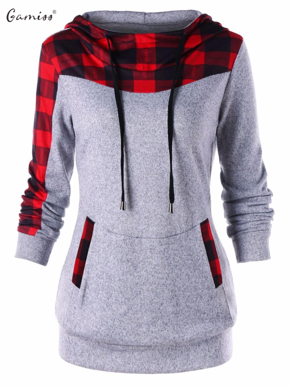 Gamiss Women Plaid Hoodies Sweatshirts Trim Drawstring Neck Hoodie ... 7f1ff8ae5