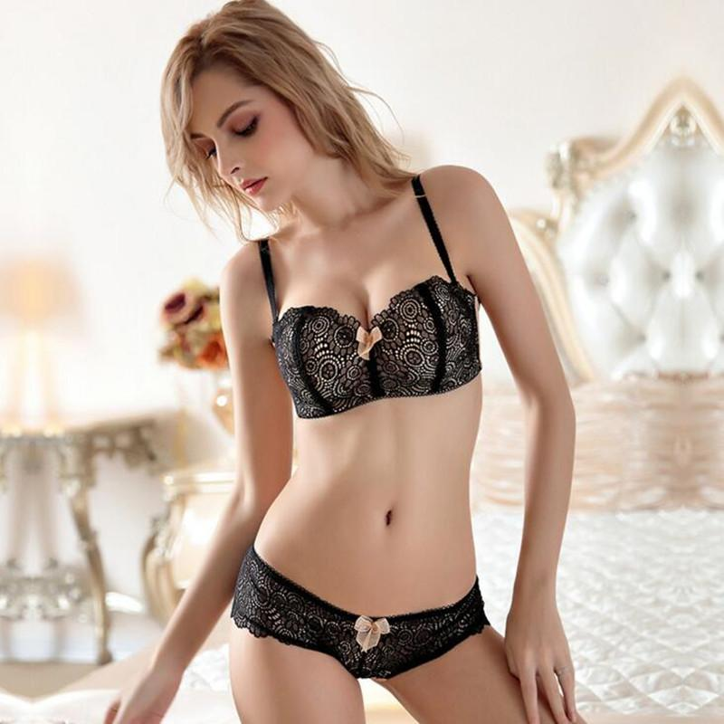 2019 Wholesale 2018 Wire Free Push Up Bra Set Padded Embroidery Women Underwear  Set Vs Brand Lace Sexy Bra Panty Black Pink Lingerie From Clothesb911 45b8f236c