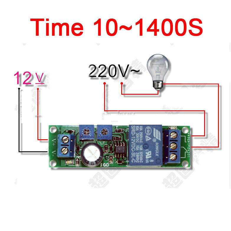 Freeshipping DC 12V Infinite Cycle Delay Timing Timer Relay ON OFF Loop  Module Time 10~1400S